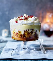 Caramelised pineapple and coconut trifle with rum syllabub