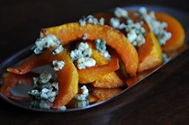 Caramelized butternut squash wedges with sage hazelnut pesto