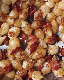 Caramelized pearl onions and bacon