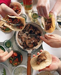 Carnitas [slow-cooked pork] tacos (Tacos de carnitas)