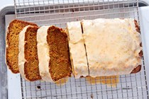 Carrot loaf cake with tangy lemon glaze