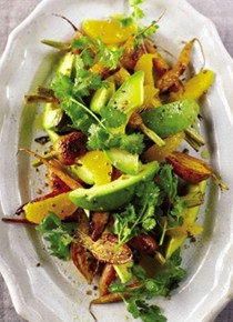 Carrots, avocado, and orange salad