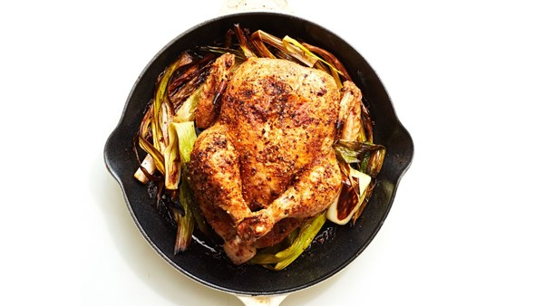 Cast-iron chicken with caramelized leeks
