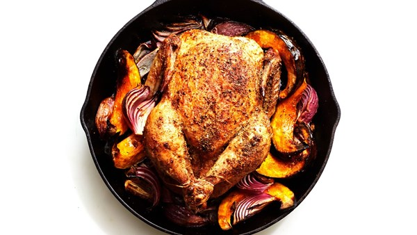 Cast-iron chicken with winter squash, red onions, and pancetta