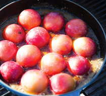 Cast-iron plum tarte Tatin