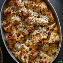 Cauliflower casserole with mixed-seed crust