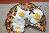 Cauliflower crust bacon and egg pizza
