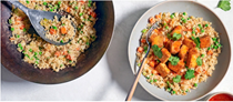 Cauliflower fried rice with crispy baked tofu