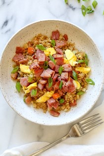 "Cauliflower fried ""rice"" with leftover ham"