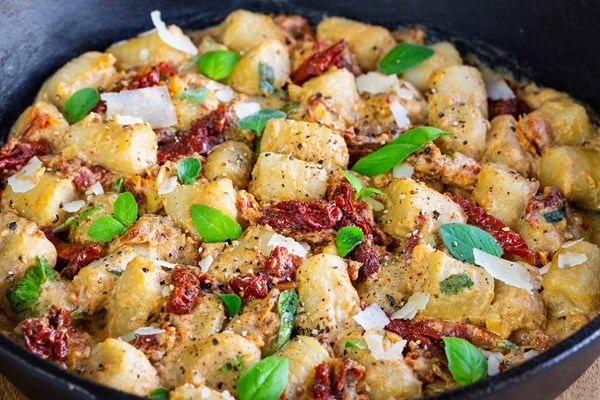 Cauliflower gnocchi with creamy sun-dried tomato sauce