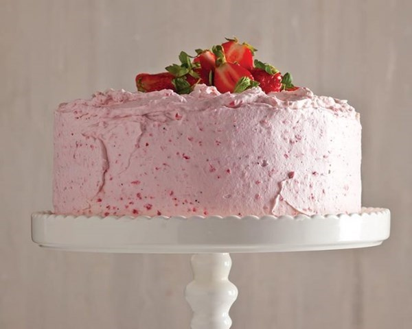 Champagne cake with fluffy strawberry frosting