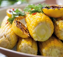 Char-grilled corn on the cob