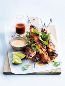 Char grilled lime and Sriracha chicken skewers