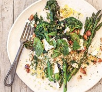 Chargrilled greens with feta and freekeh