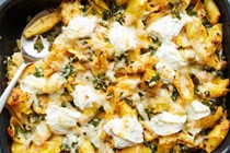 Cheesy baked pumpkin pasta with kale