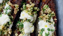 Chermoula aubergine with bulgar & yoghurt