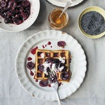 Cherry poppy seed waffles