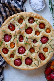 Cherry tomato focaccia with rosemary and sea salt