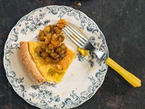 Chess pie with blackened pineapple salsa