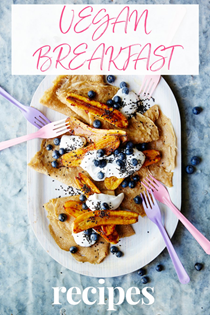 Chia crêpes with caramelised banana & black sesame