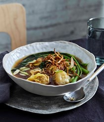 Chicken and prawn wontons, chicken dashi and Chinese broccoli