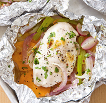 Chicken baked in foil with sweet potato and radishes