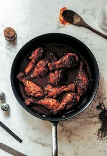 Chicken drumsticks braised in wine