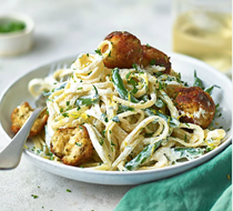 Chicken, lemon & ricotta meatballs with linguine