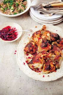 Chicken marinated in yogurt with Georgian plum sauce