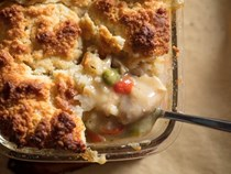 Chicken pot pie with buttermilk biscuit topping