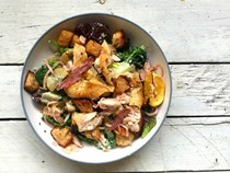 Chicken salad with anchovy dressing and chicken fat croutons
