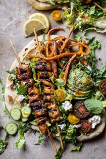 Chicken shawarma naan salad with sweet potato fries