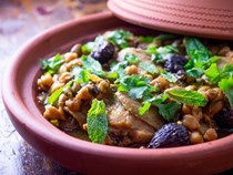 Chicken tagine with pistachios, dried figs, and chickpeas