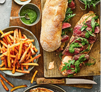 Chimichurri-style steak sarnies & cheat's spicy fries