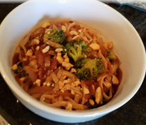 Chinese noodles and broccoli with spicy black bean sauce