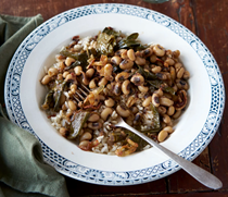 Chipotle black-eyed peas & collards with crispy shallots