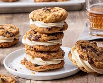 Chocolate-cherry browned butter sandwich cookies with whiskey buttercream