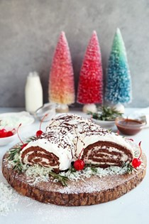 Chocolate cherry Yule log cake