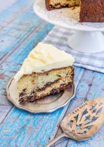 Chocolate chip buttermilk cake with orange icing