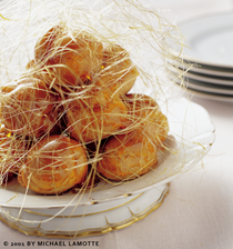 Chocolate cream puffs with spun sugar