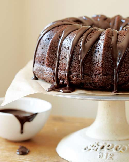 Chocolate sour cream bundt cake with chocolate glaze