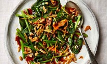 Choy sum with oyster sauce, garlic and peanuts