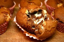 Chunky white chocolate and golden syrup, chocolate muffins