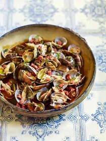 Clams with chouriço, garlic, and cilantro