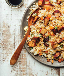 Classic Chinese fried rice with BBQ pork