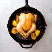 Classic roast chicken with lemon-thyme pan sauce