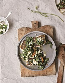 Cod with feta, wild garlic and pine nuts