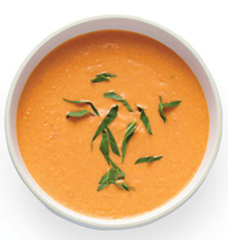 Cold cream of tomato and peach soup