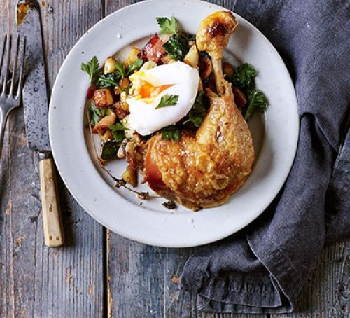 Confit Chicken Legs With Potato Hash Poached Egg Recipe Eat Your