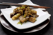 Cool steamed eggplant with a garlicky dressing (Liang ban qie zi)